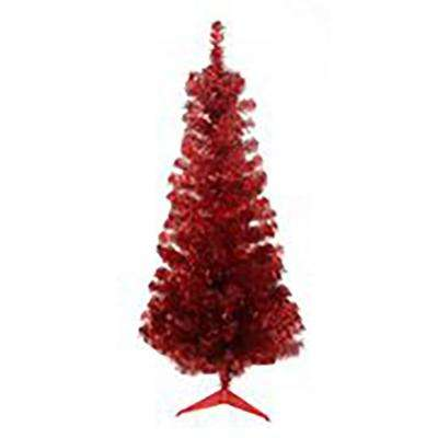 4 ft. x 24 in. Unlit Red Tinsel Medium Artificial Christmas Tree