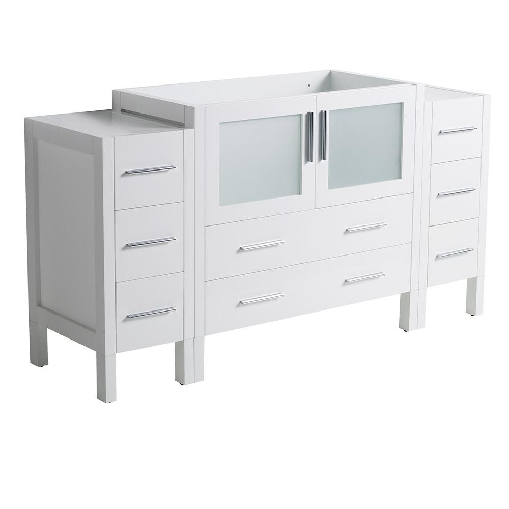 60 in. Torino Modern Bathroom Vanity Cabinet in White