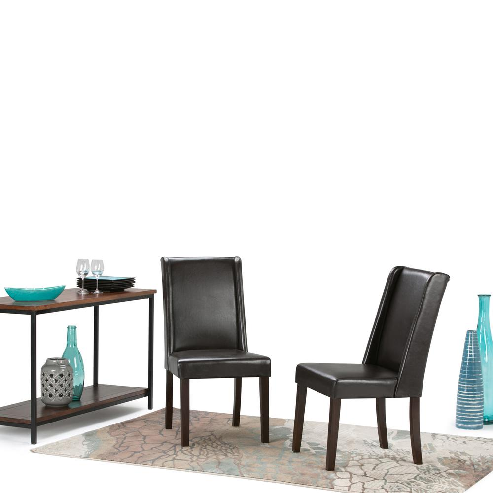 Simpli Home Sotheby Tanners Brown Faux Leather Dining Chair (Set Of 2)