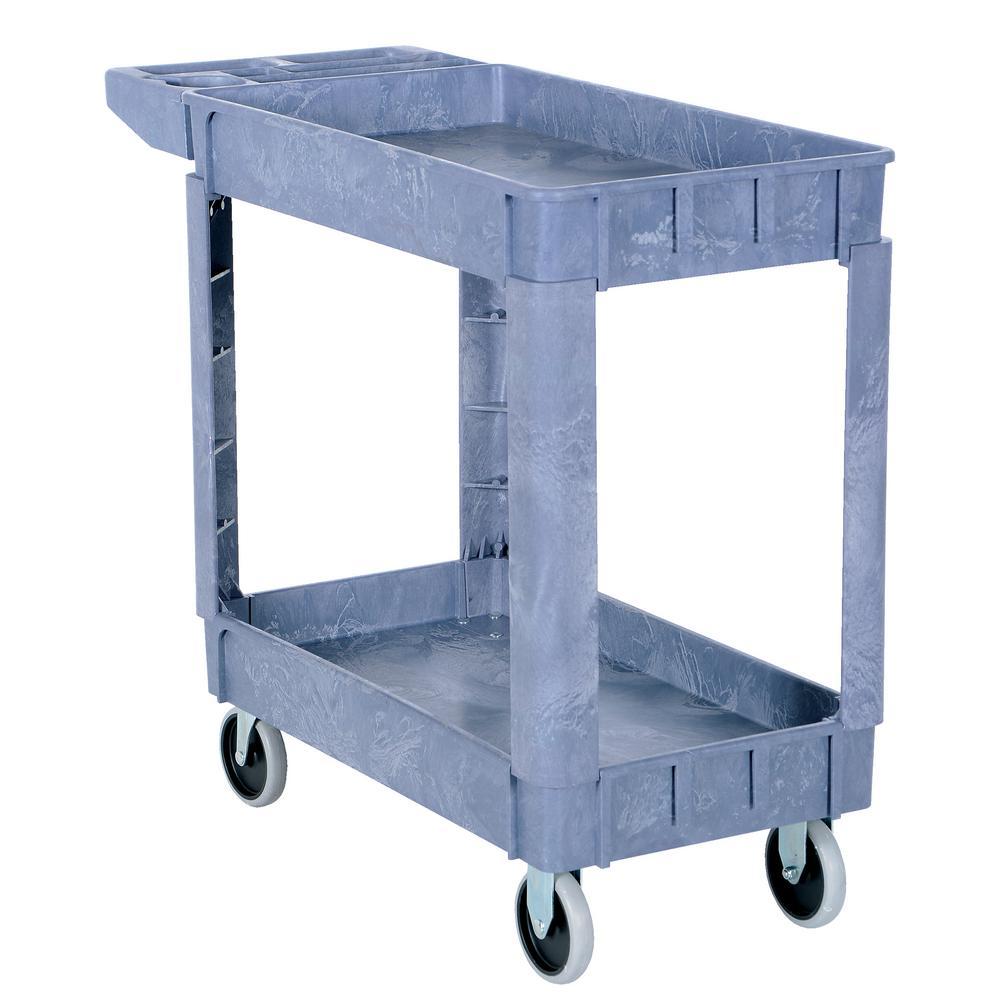 17.5 in. x 31 in. 2 Shelf Plastic Utility Cart