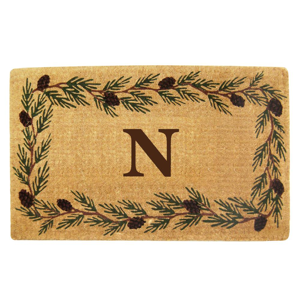 Evergreen 22 in. x 36 in. Heavy Duty Coir Monogrammed N
