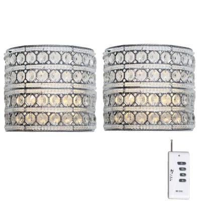 9.25 in. Set of 2 Silver Crystal Glam Doll Integrated LED Sconce