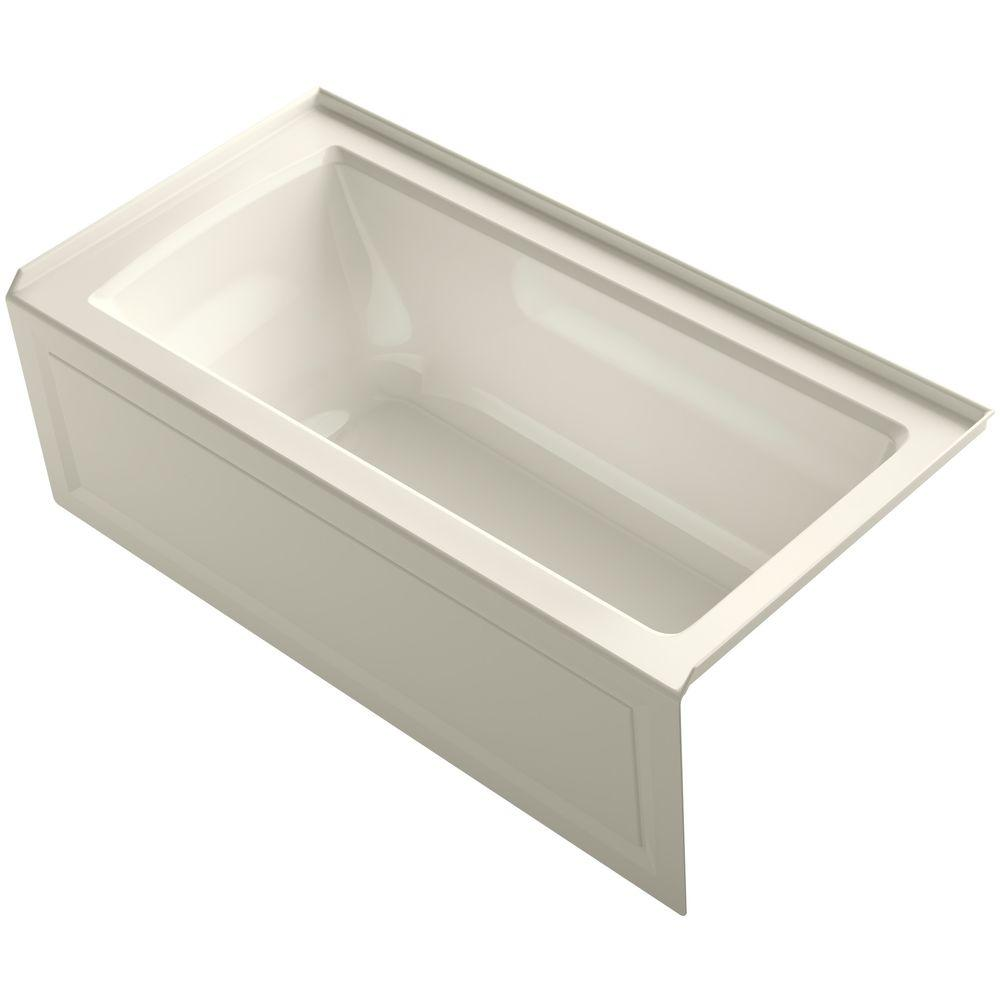Archer 5 ft. Right Drain Soaking Tub in Biscuit