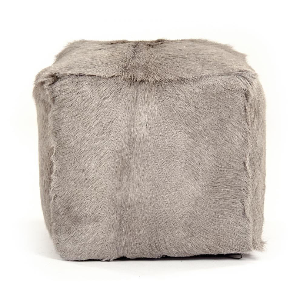 zentique Tibetan Light Grey Goat Fur Pouf, Gray was $477.0 now $315.0 (34.0% off)