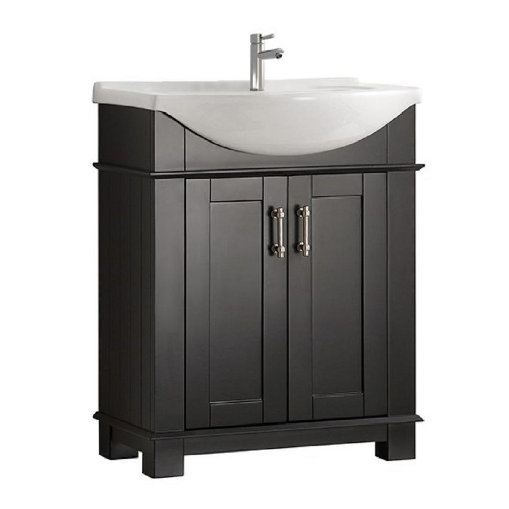 Fresca Hudson 30 in. W Traditional Bathroom Vanity in Black with Ceramic Vanity Top in White with White Basin