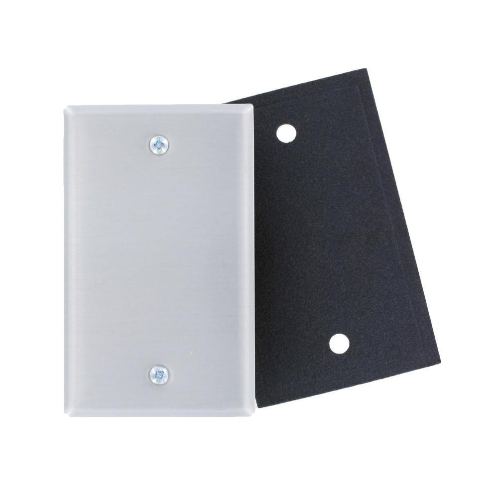 1-Gang No Device Blank Wallplate, Standard Size, Aluminum, Box Mount, Foam Gasket, Aluminum