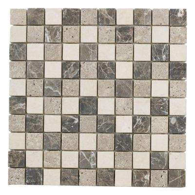 Emperador Mix 11.75 in. x 11.75 in. x 9 mm Honed Marble Mosaic Floor and Wall Tile