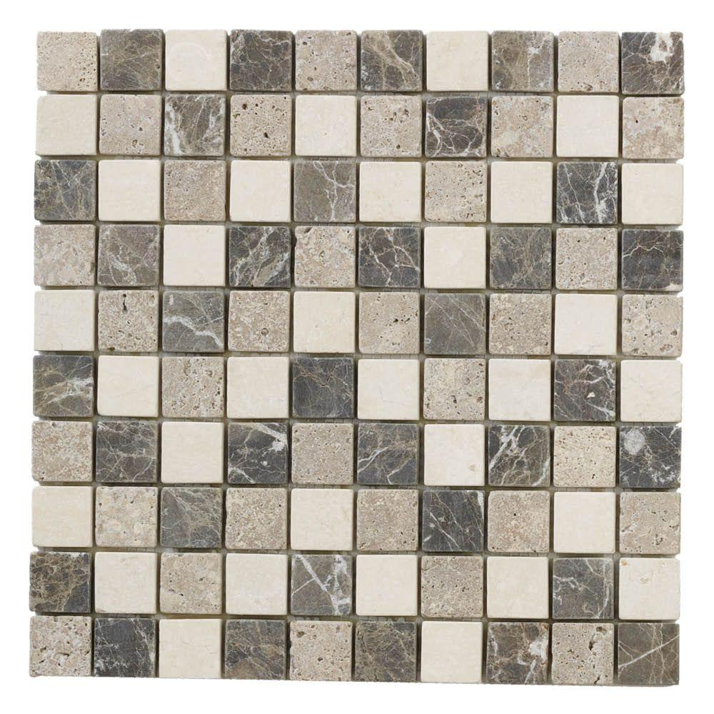 Jeffrey Court Emperador Mix 11.75 in. x 11.75 in. x 9 mm Honed Marble Mosaic Floor and Wall Tile