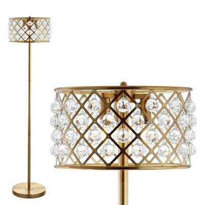 Elizabeth 60 in. Brass Gold/Clear Crystal/Metal LED Floor Lamp