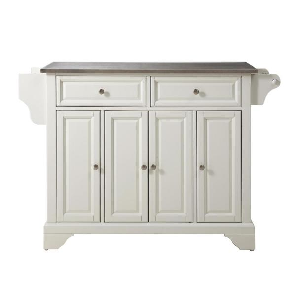 Lafayette White Kitchen Island with Stainless Steel Top