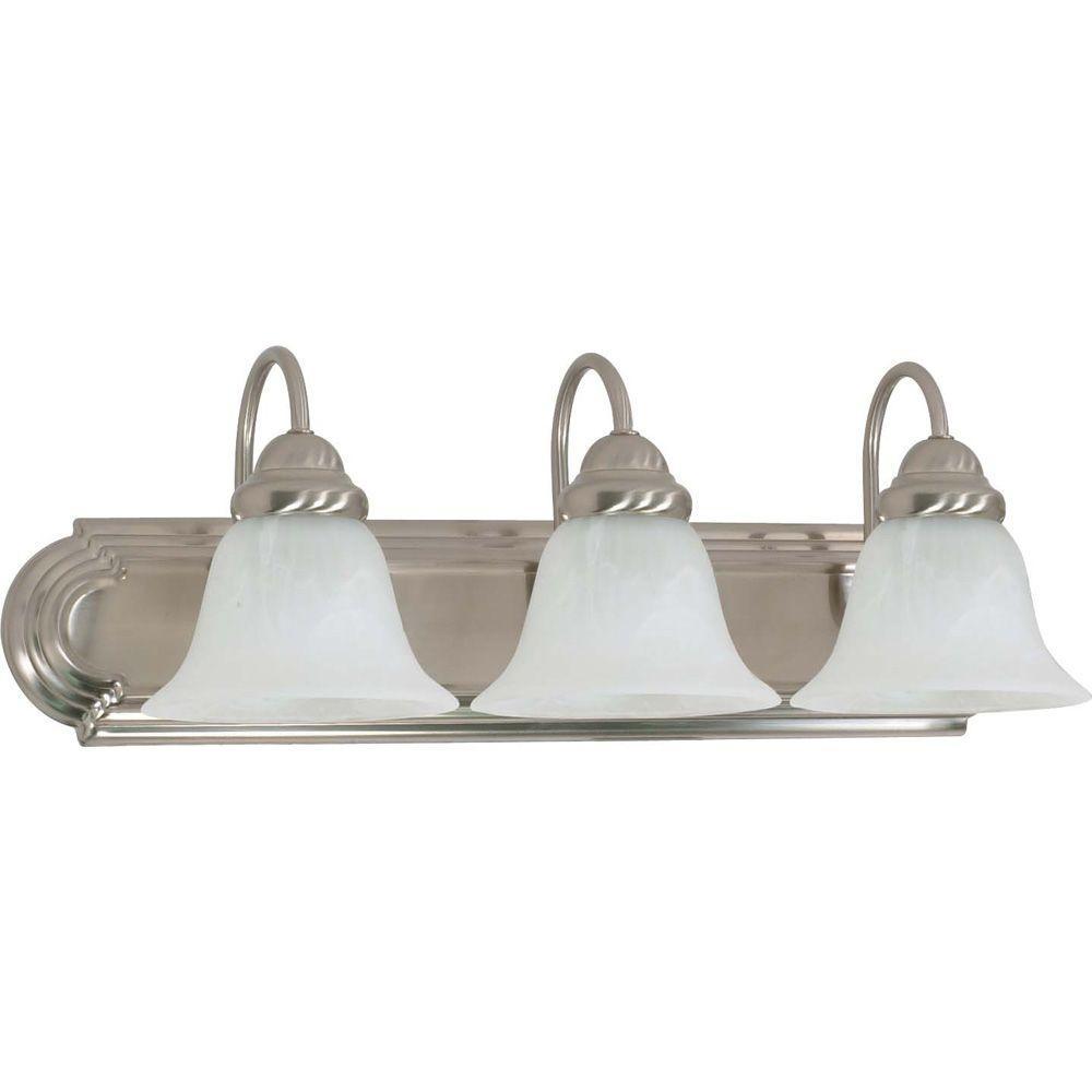 Glomar 3-Light Brushed Nickel Vanity Light with Alabaster Glass Bell Shade