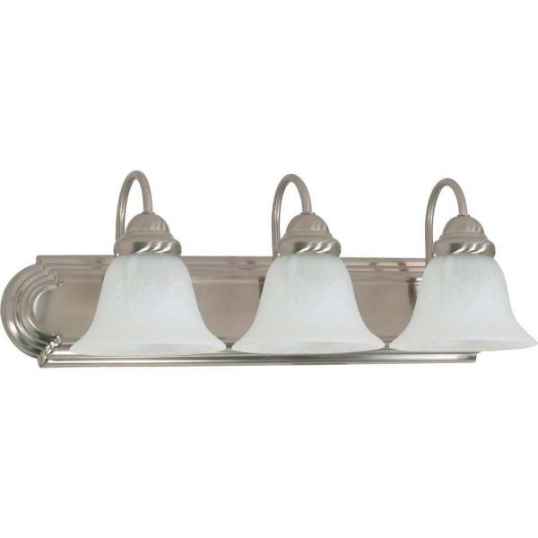 3-Light Brushed Nickel Vanity Light with Alabaster Glass Bell Shade