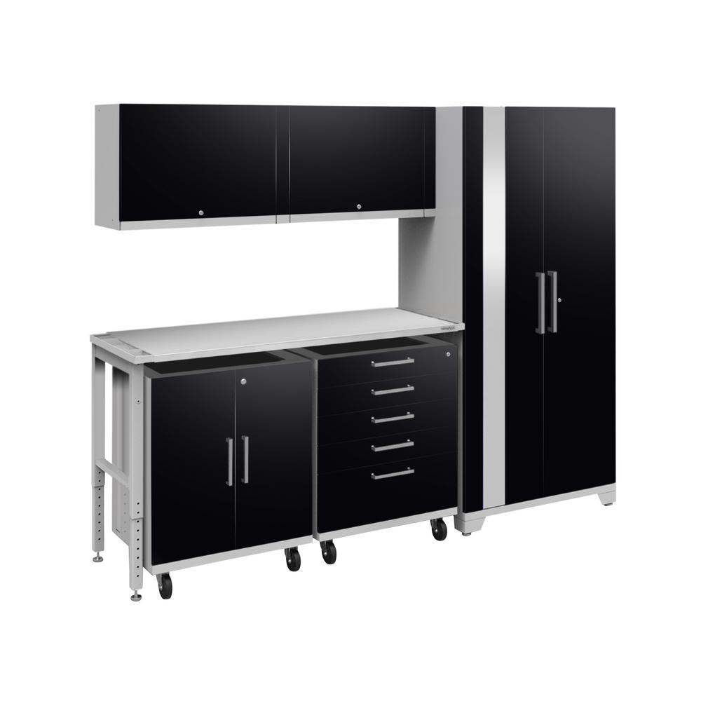 Performance Plus 2.0 80 in. H x 97 in. W x 24 in. D Steel Garage Cabinet Set in Black (6-Piece)