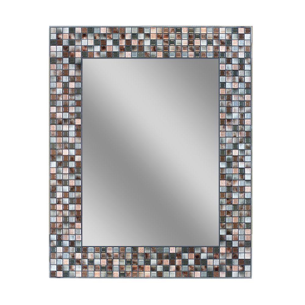 30 in. L x 24 in. W Earthtone Copper-Bronze Mosaic Tile Wall Mirror
