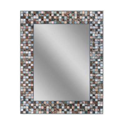 30 in. L x 24 in. W Earthtone Copper-Bronze Mosaic Tile Wall Mirror