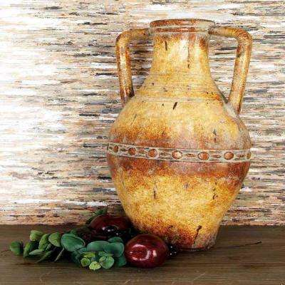 Tuscan Distressed Gold Ceramic Urn Decorative Vase