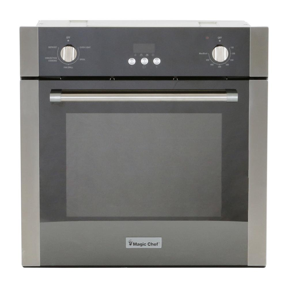 Magic Chef 24 In 2 Cu Ft Single Electric Wall Oven With Convection Stainless Steel
