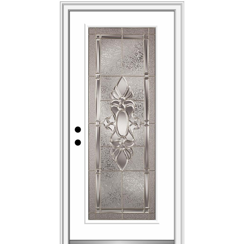 MMI Door 36 in. x 80 in. Heirlooms Right-Hand Inswing Full Lite Decorative Painted Fiberglass Smooth Prehung Front Door