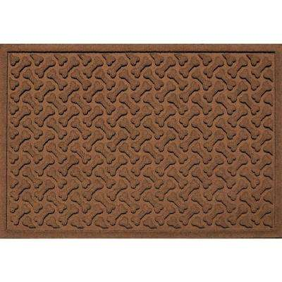 Dark Brown 24 in. x 36 in. Dog Bone Repeat Polypropylene Pet Mat