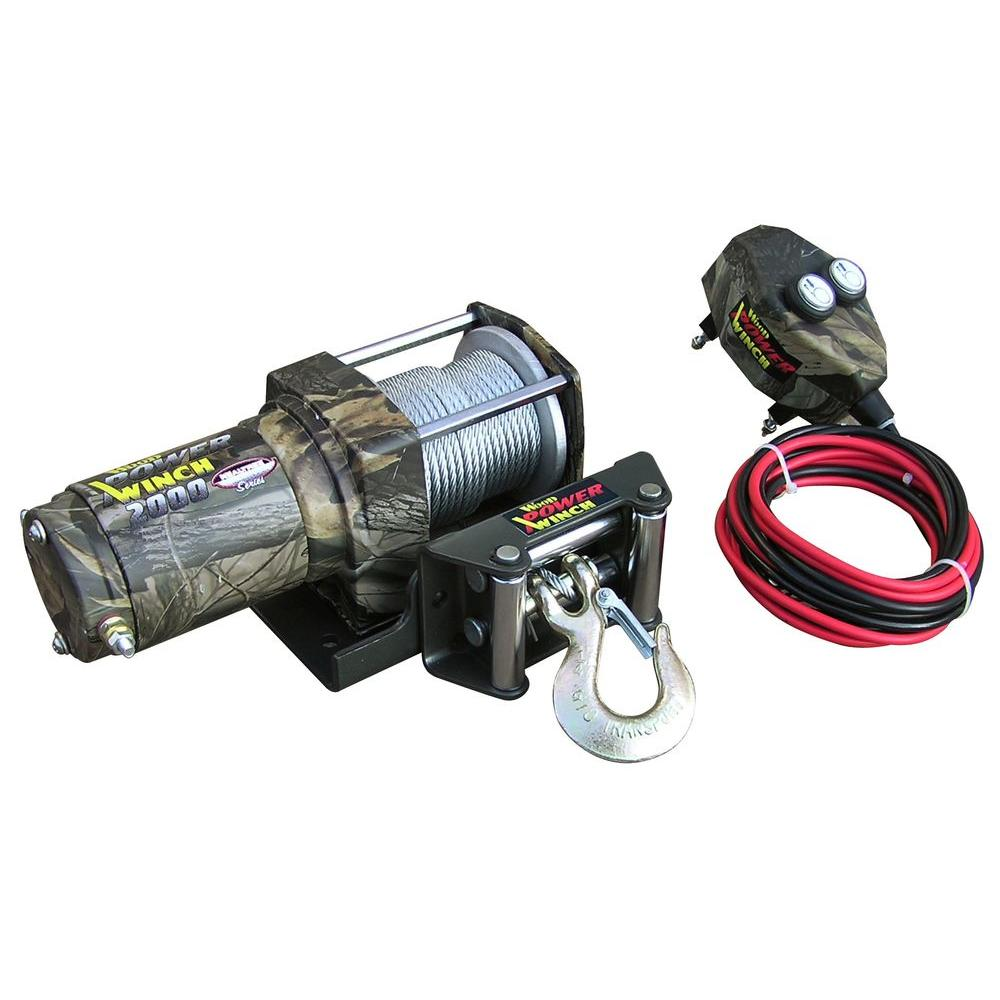 WOOD POWER WINCH Heavy Duty ATV 2000 lb. Power Winch