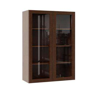 Soleste Assembled 30x42x12 in. Wall Kitchen Cabinet with Glass Doors in Spice