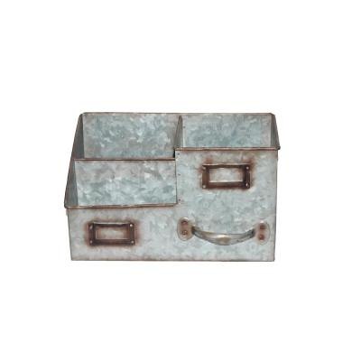 Gray Benjara Galvanized Metal Napkin Holder with Fitted Handle