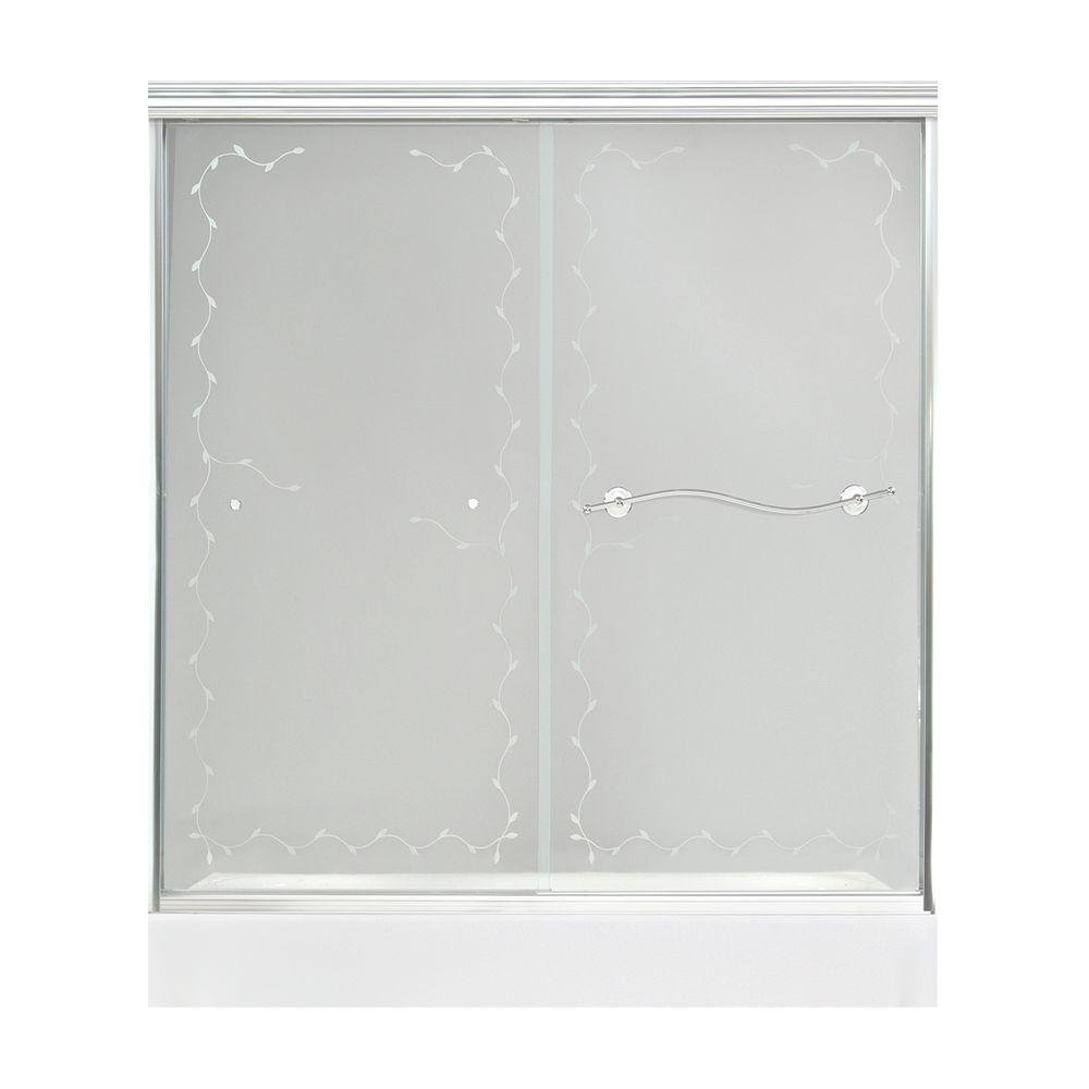 MAAX Vine 57 in. to 59-1/2 in. W Shower Door in Satin Nickel with 6MM Frosted Vine Glass-DISCONTINUED