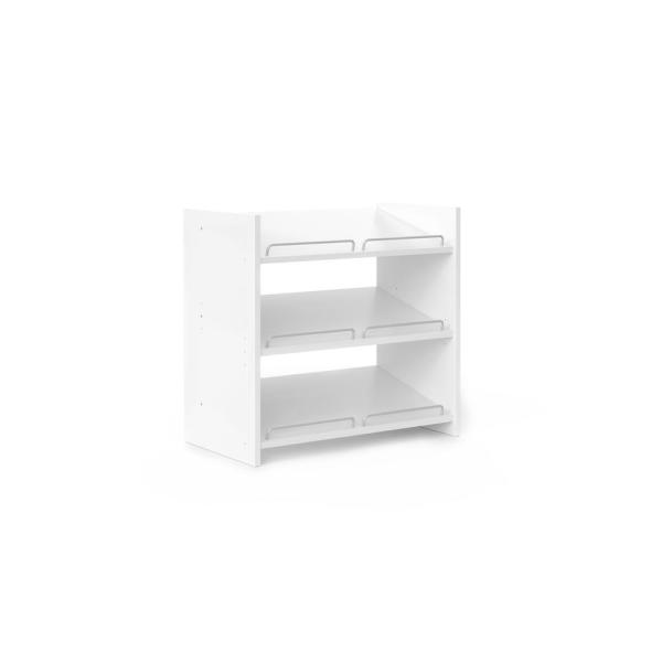 25 in. H x 25.125 in. W x 14 in. D 9-Pair Classic White Wood Stackable Shoe Storage
