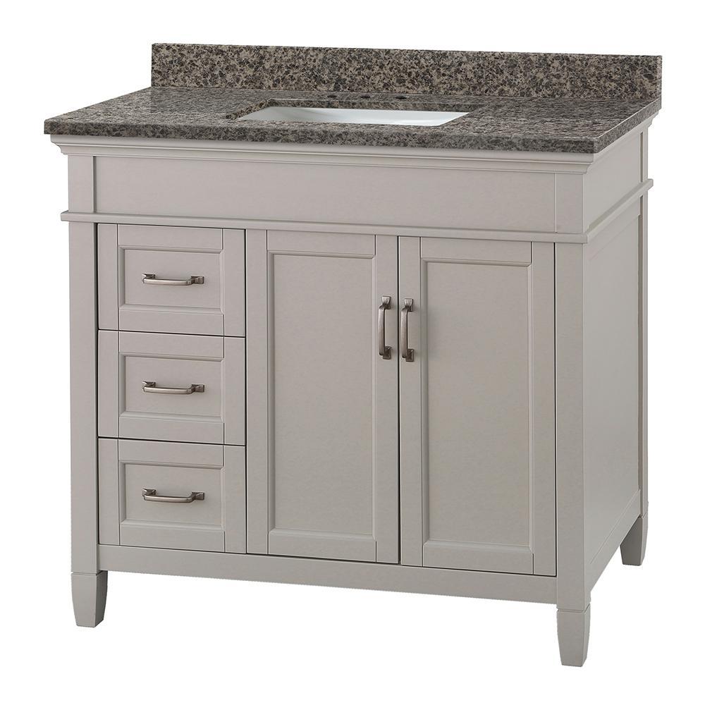 Ashburn 37 in. W x 22 in. D Vanity in Grey with Granite Vanity Top in Sircolo with White Basin