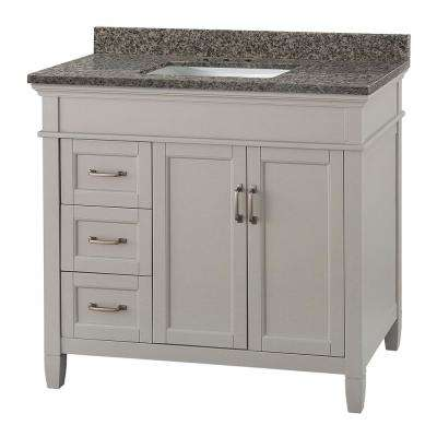 Ashburn 37 in. W x 22 in. D Vanity in Grey with Granite Vanity Top in Sircolo with White Sink