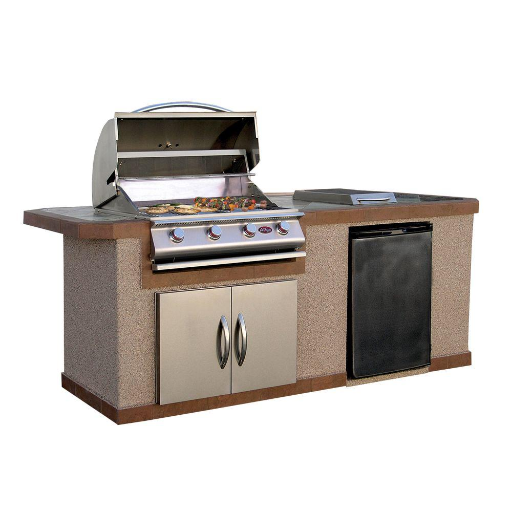 Cal Flame 7 ft. Stucco Grill Island with Tile Top and 4-Burner Gas Grill in Stainless Steel