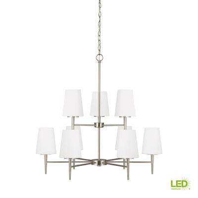 Driscoll 9-Light Brushed Nickel Chandelier with LED Bulbs