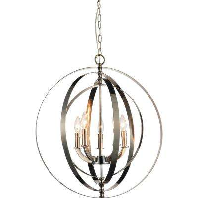 Delroy 5-light chrome chandelier