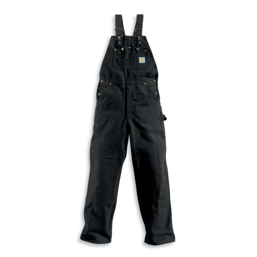 Men's 44x28 Black Cotton  Bib Overalls