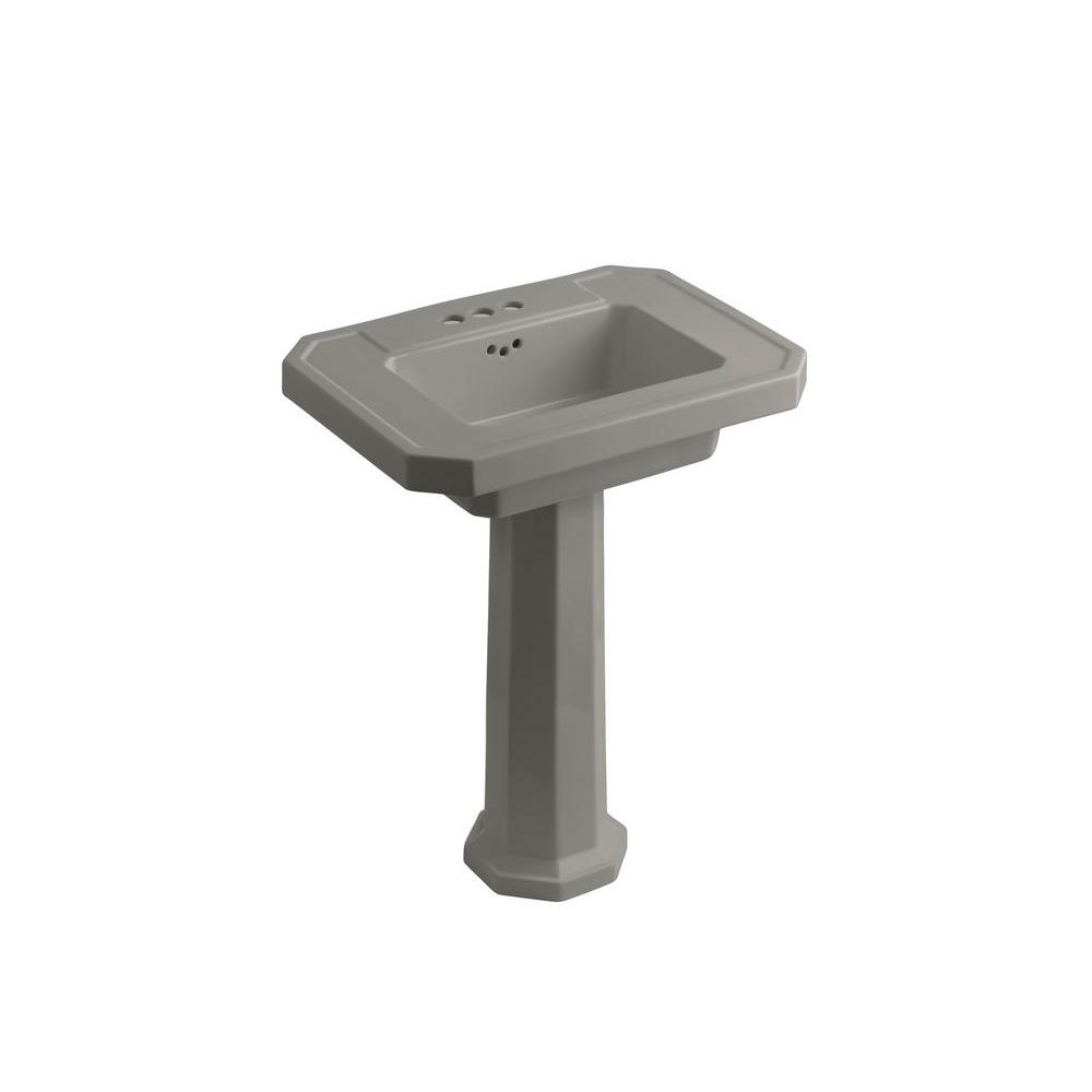 KOHLER Kathryn Ceramic Pedestal Combo Bathroom Sink in Cashmere with Overflow Drain