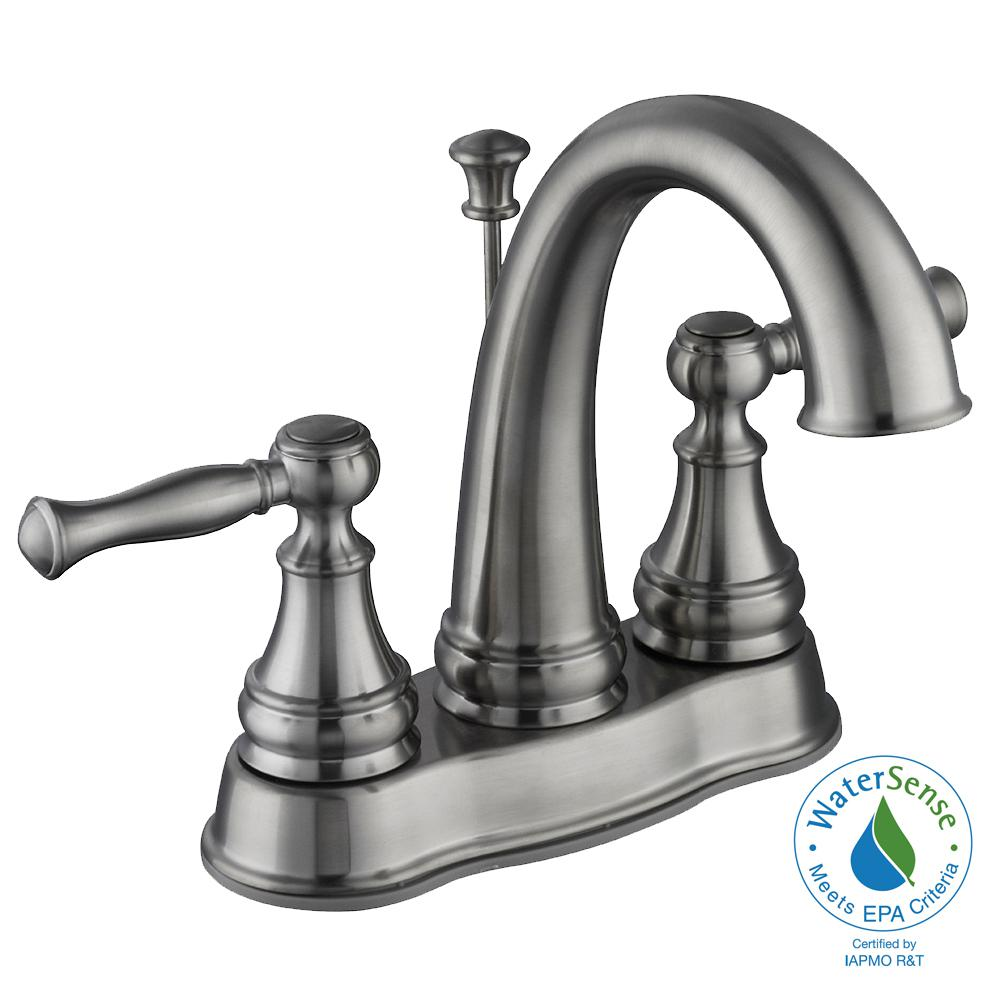 Fairway 4 in. Centerset 2-Handle High-Arc Bathroom Faucet in Brushed Nickel