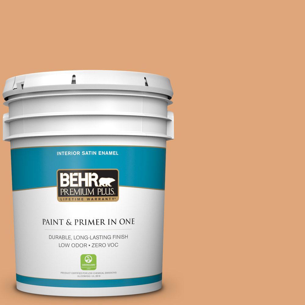 BEHR Premium Plus 5-gal. #280D-4 Caramel Sundae Zero VOC Satin Enamel Interior Paint