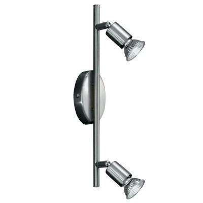 Buzz 2-Light Matte Nickel and Chrome Track Lighting Fixture