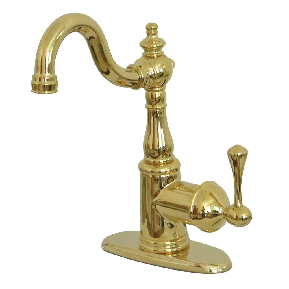 polished brass kitchen faucets kingston brass vintage single handle bar faucet in polished brass hks7492bl the home depot 2127