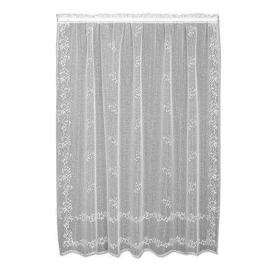 Sheer Divine White Lace Curtain 60 in. W x 84 in. L