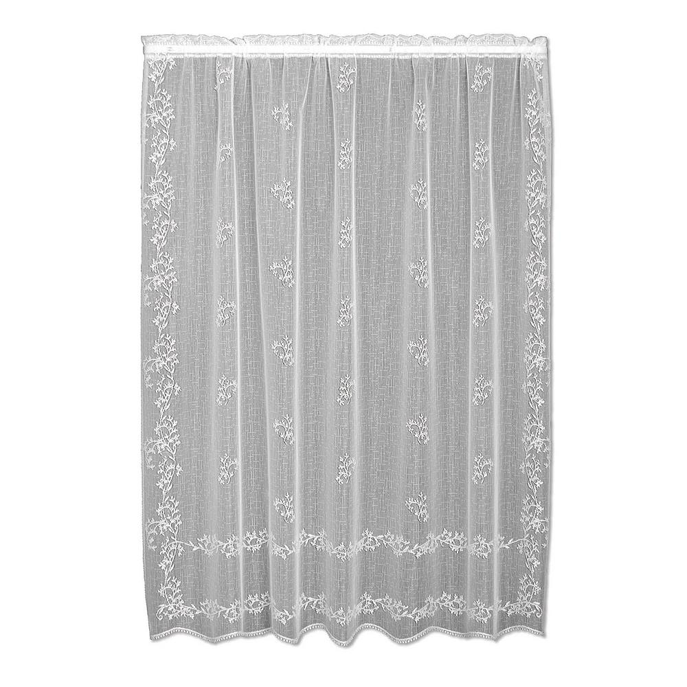 f27f693772e2 Heritage Lace Sheer Divine White Lace Curtain 60 in. W x 84 in. L ...