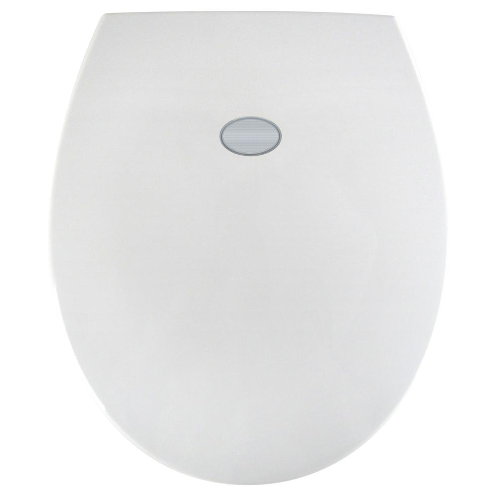 Sharper Image Nightlight Round Closed Front Toilet Seat in White