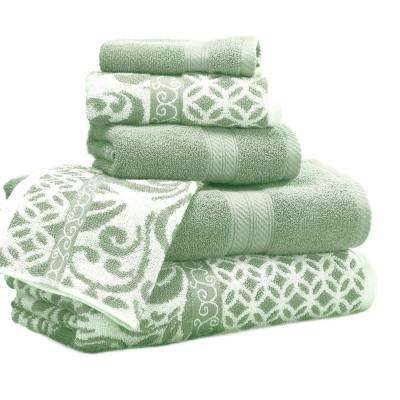 Trefoil Filigree 6-Piece Cotton Bath Towel Set in Sage