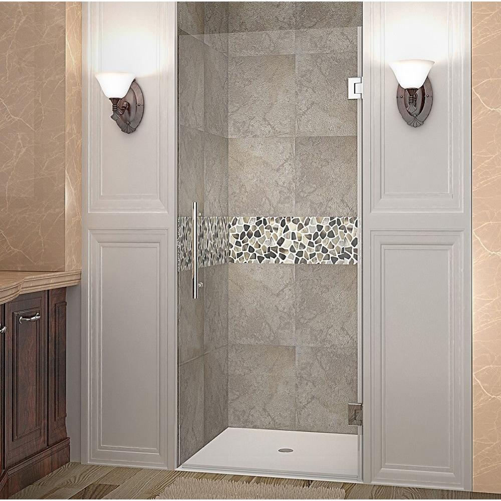 Aston Cascadia 24 in. x 72 in. Completely Frameless Hinged Shower Door in Stainless Steel with Clear Glass