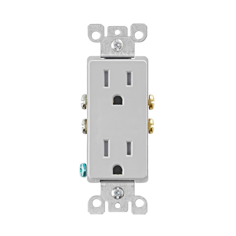 Decora 15 Amp Tamper Resistant Duplex Outlet, Light Gray