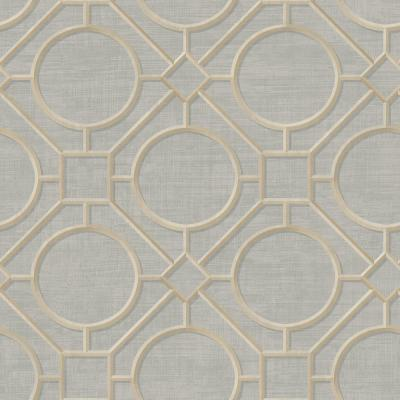 Silk Road Metallic Gold and Gray Trellis Wallpaper