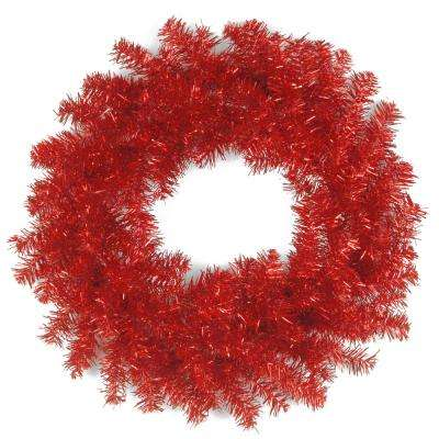 24 in. Red Tinsel Artificial Wreath