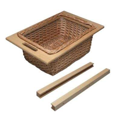 18 in. W Frameless Cabinet Beech Wicker Basket Organizer