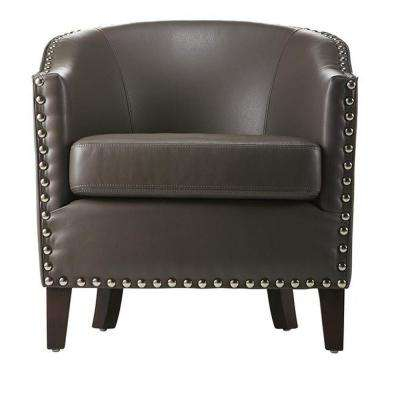 Moore Pebble Grey Bonded Leather Club Arm Chair