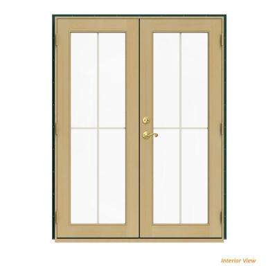 60 in. x 80 in. W-2500 Green Clad Wood Left-Hand 4 Lite French Patio Door w/Unfinished Interior